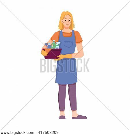 Female Personage From Cleaning Service Tidying Home, Office Or Hotel Room. Isolated Cleaner Staff In