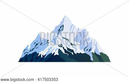 Mountain Snow-capped Peaks, Snowy Rocky Cliffs Isolated Cartoon Icon. Landscape, Travel Adventures S