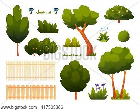 Set Of Green Trees, Bushes, Grass And Flowers, Fence Or Hedge Isolated Backyard Or Park Set Of Carto
