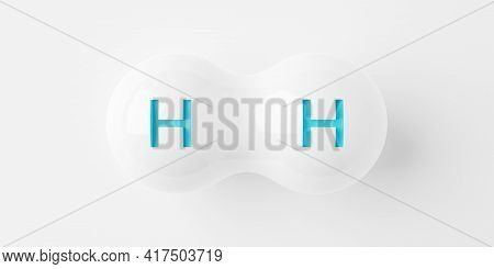 Single Abstract White Hydrogen H2 Molecule Over White Background, Clean Energy Or Chemistry Concept,