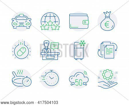 Business Icons Set. Included Icon As Timer, Capsule Pill, Money Wallet Signs. 5g Cloud, Refrigerator