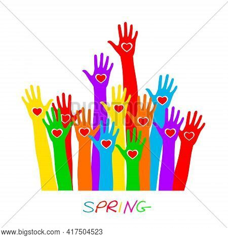Volunteers Hands Up With Heart Emblem Icon For Education, Health Care, Medical, Volunteer, Vote.