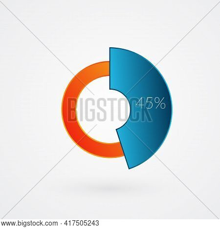 45 Percent Isolated Pie Chart. Percentage Vector, Infographic Gradient Icon. Circle Sign For Busines