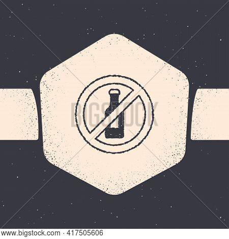 Grunge No Alcohol Icon Isolated On Grey Background. Prohibiting Alcohol Beverages. Forbidden Symbol