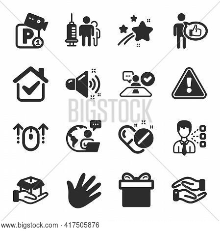Set Of Business Icons, Such As Loud Sound, Helping Hand, Third Party Symbols. Medical Vaccination, L