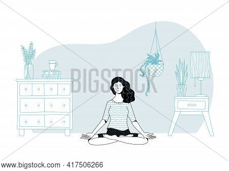 Tranquil Dark Haired Young Woman Practicing Meditation In Lotus Position