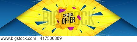 Special Offer Liquid Shape. Abstract Background With Offer Message. Discount Sticker Banner. Sale Co