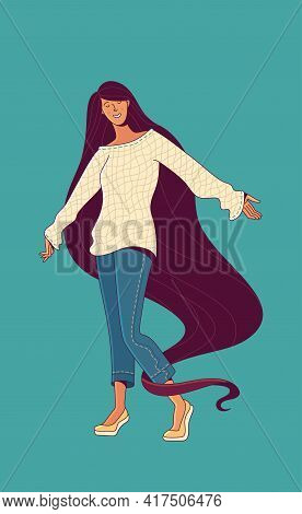 Woman With Long Loose Hair Dancing On Turquoise Background