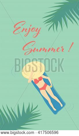 Vector Illustration Vertical Card With Girl In Red Swimsuit On The Mattress Floating In The Blue Sea