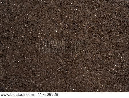 Earth Ground Texture Macro Photography Pattern Background. Textured Ground Surface As Background, To