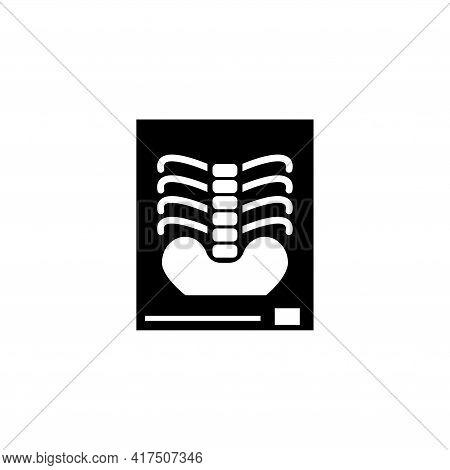 X-ray Of A Human Spine, Roentgen Bone. Flat Vector Icon Illustration. Simple Black Symbol On White B