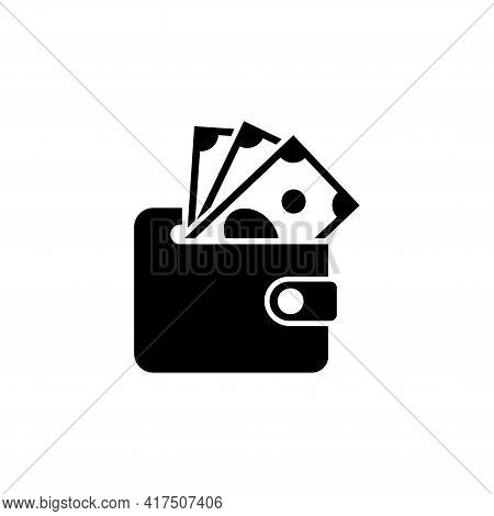 Wallet With Dollars Banknotes, Purse And Cash, Pouch. Simple Black Symbol On White Background. Walle