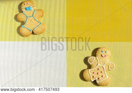 Concept Of Self-isolation And Restriction Of Covid Figure Of A Man In A Cookie Mask And A Happy Man