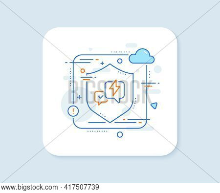 Lightning Bolt Line Icon. Abstract Vector Button. Chat Messages Sign. Speech Bubble Symbol. Lightnin