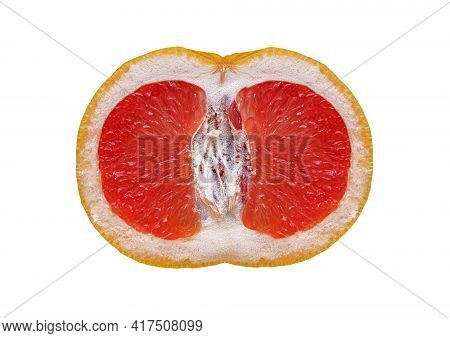 Grapefruit Isolated On A White Background. Half A Grapefruit.