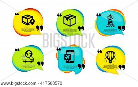 Delivery Service, Parcel And Lighthouse Icons Simple Set. Speech Bubble With Quotes. Parcel Tracking