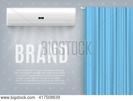 Banner With Advertise Of Air Conditioner For Climate Control Temperature Indoors