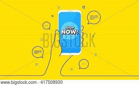 Shop Now Symbol. Hand Hold Phone. Yellow Banner With Continuous Line. Special Offer Sign. Retail Adv