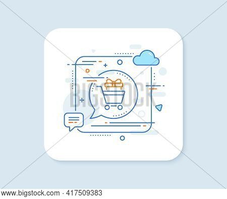 Shopping Cart With Gift Line Icon. Abstract Square Vector Button. Customer Trolley Sign. Supermarket