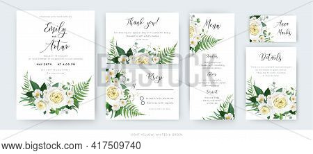 Beautiful Vector Watercolor Floral Wedding Cards Set: Invite, Thank You, Menu, Rsvp Template. Yellow