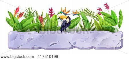 Stone Sign Board, Vector Jungle Rock Ui Game Element, Toucan, Tropical Exotic Flowers, Banana Leaves