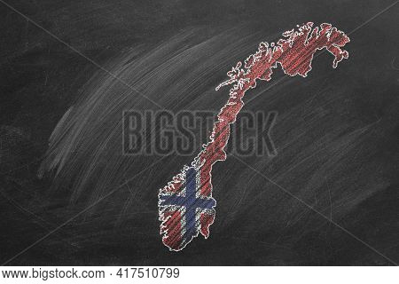 Country Map And Flag Of Norway Drawing With Chalk On A Blackboard. One Of A Large Series Of Maps And