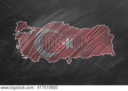 Country Map And Flag Of Turkey Drawing With Chalk On A Blackboard. One Of A Large Series Of Maps And