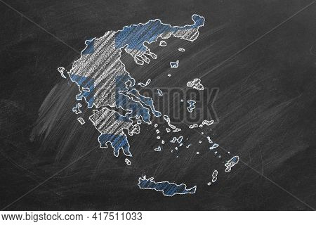 Country Map And Flag Of Greece Drawing With Chalk On A Blackboard. One Of A Large Series Of Maps And
