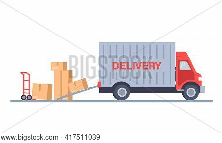 Fast Delivery, Home Delivery, Free Shipping, 24 Hour Delivery. Delivery Vector Transport Truck