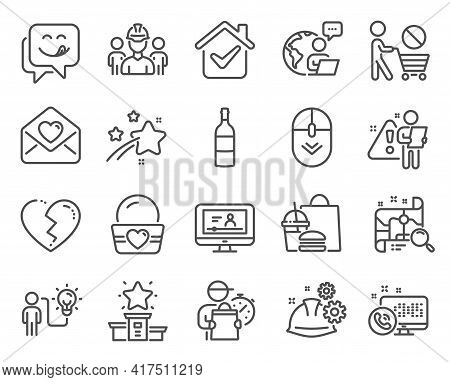 Business Icons Set. Included Icon As Yummy Smile, Engineering Team, Ice Cream Signs. Stop Shopping,