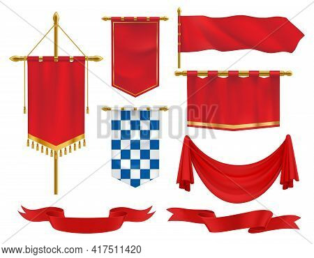 Textile Heraldic Banners, Pennants And Flags 3d Vector Set. Medieval Red Ensigns On Flagpole With Go