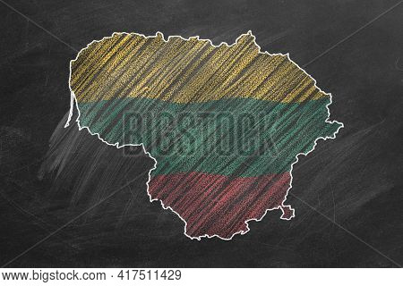 Country Map And Flag Of Lithuania Drawing With Chalk On A Blackboard. One Of A Large Series Of Maps