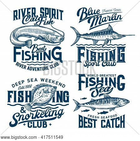 Fishing And Snorkeling Club Marine T-shirt Prints With Fishes And Sea Waves, Vector. Marine Fish Cat