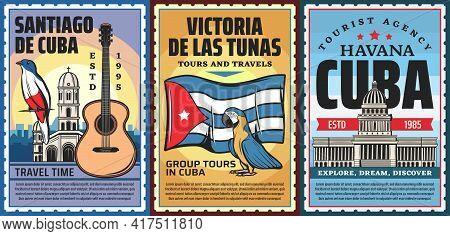 Cuba And Havana Vacation Travel Tours Vector Retro Banners. Cuban Trogon Bird, Catholic Church And C