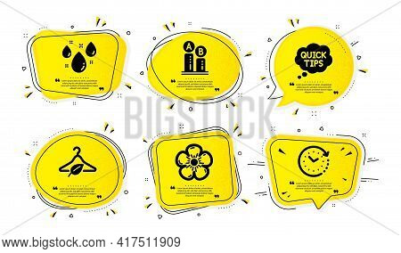 Ab Testing, Quick Tips And Natural Linen Icons Simple Set. Yellow Speech Bubbles With Dotwork Effect