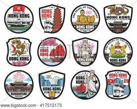 Hong Kong Travel Landmarks Icons. Vector Ferryboat, Doubledecker Tram And Junk Boat, Buddha, Golden