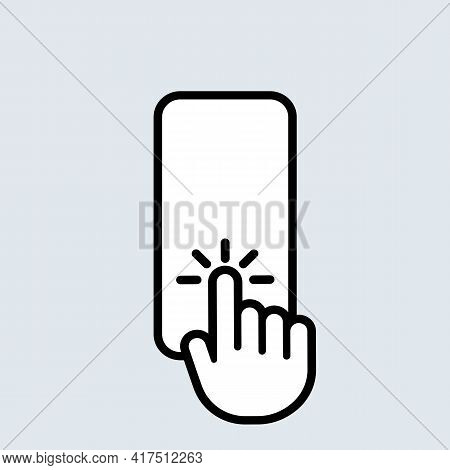 Hand Touch Smartphone Icon. Cursor Finger. Hand Touch Screen For App, Web Design And Business Concep