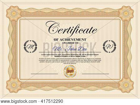 Certificate Of Achievement Vector Template, Vintage Border Ornate Design. Official Award Frame, Pape