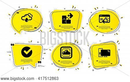 Cloud Computing, Verify And Rainy Weather Icons Simple Set. Yellow Speech Bubbles With Dotwork Effec
