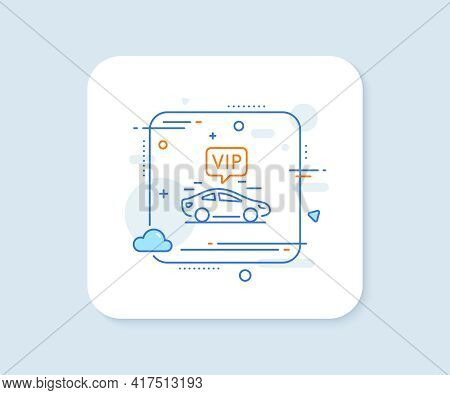 Vip Transfer Line Icon. Abstract Square Vector Button. Very Important Person Transport Sign. Luxury