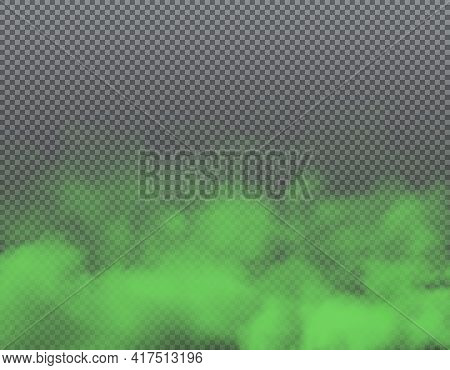 Green Smoke Or Bad Smell Clouds Background, Vector Transparent Fog. Green Toxic Smog, Stink Mist Or