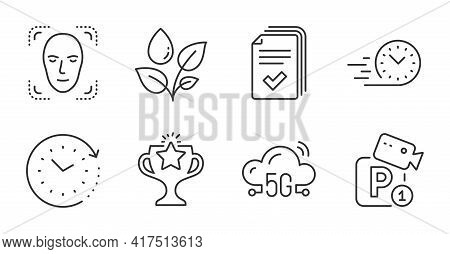Time Change, Plants Watering And Handout Line Icons Set. Victory, Face Detection And Parking Securit