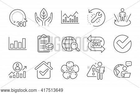 Infochart, 360 Degrees And Report Diagram Line Icons Set. Medical Prescription, Career Ladder And Ve