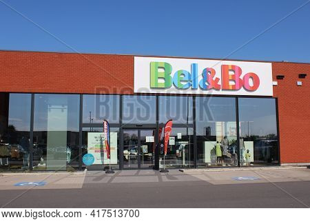 Lebbeke, Belgium, 17 April 2021: Exterior View Of A Bel And Bo Clothing Store. It Is A Belgian Compa