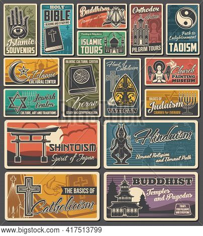 Religious Vector Vintage Banners. Islam, Buddhism And Christianity, Shintoism, Catholicism And Hindu