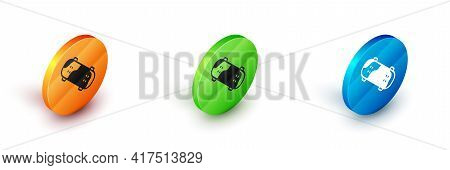 Isometric Skateboard Trick Icon Isolated On White Background. Extreme Sport. Sport Equipment. Circle