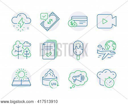 Business Icons Set. Included Icon As Payment Method, Megaphone, Thunderstorm Weather Signs. Video Ca