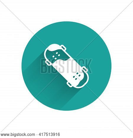 White Skateboard Trick Icon Isolated With Long Shadow. Extreme Sport. Sport Equipment. Green Circle