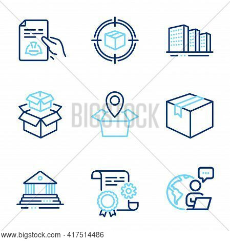 Industrial Icons Set. Included Icon As Technical Documentation, Buildings, Packing Boxes Signs. Cons