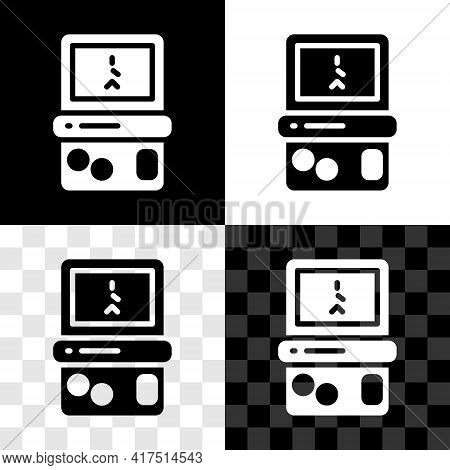 Set Portable Tetris Electronic Game Icon Isolated On Black And White, Transparent Background. Vintag